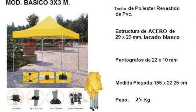 CARPA-PLEGABLE-BASICO-3X3- AMARILLA- DETALLES GENERALES CON TEXTO - copia
