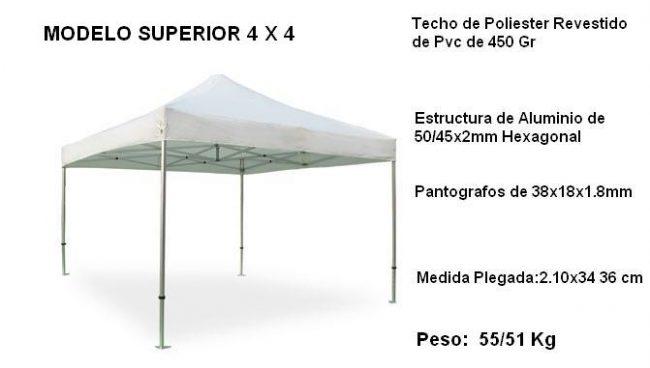Carpa-plegable-superior-4X4-blanca-detalle-texto