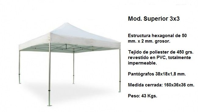 Carpas plegables Modelo Superior